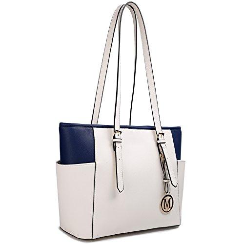 Miss Lulu Designer-Damen-Handtasche, Leder, Handtasche, Umhängetasche LM1642-1 Weiß / Dunkelblau