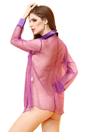 Smile YKK Femme Pyjama Sexy Chemise Transparente Grande Taille Lingerie Erotique Tulle Babydoll Violet