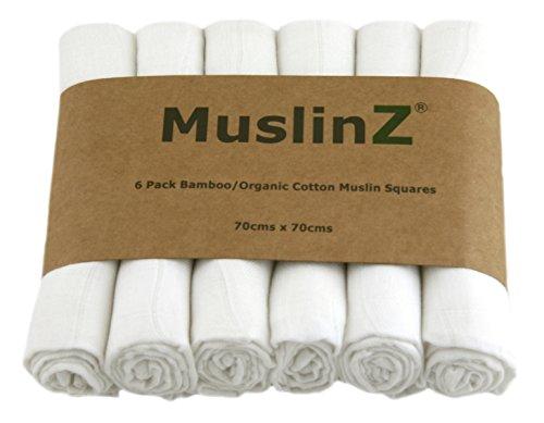 Muslinz Luxus Bambus/Bio Baumwolle Musselin Quadrate (70cm, weiß, 6Stück) (Bio-burp Tücher)