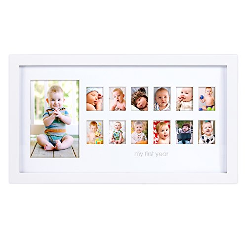 Pearhead Photo Moments Baby First Year Keepsake Frame, White