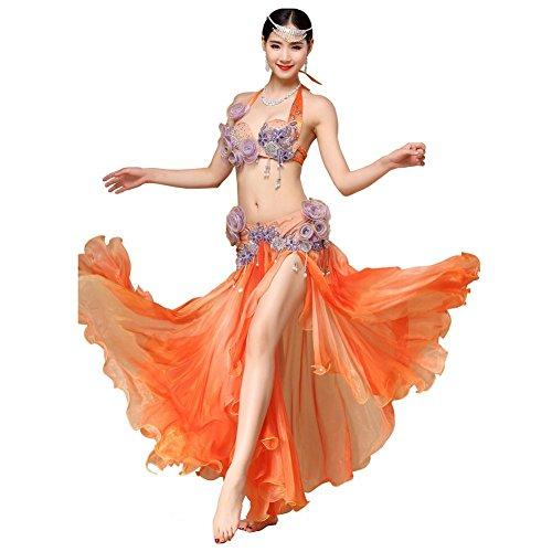 bauch tanzen performance frau handmade diamant perlen blume bh rock safe kurze hose modern trainieren kostüm . orange . one size (One Night Stand Kostüm Mädchen)