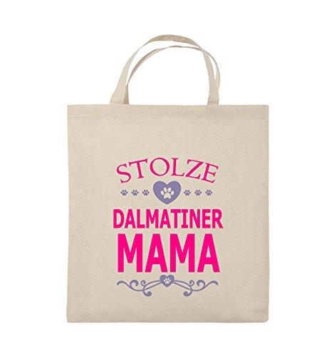 Comedy Bags - Stolze Dalmatiner Mama - HERZ - Jutebeutel - kurze Henkel - 38x42cm - Farbe: Schwarz / Weiss-Neongrün Natural / Pink-Violet