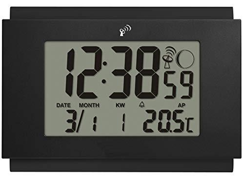 Krippl-Watches Digitale Funkwanduhr, Farbe:schwarz