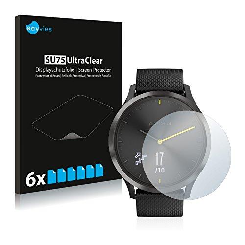 Savvies Schutzfolie kompatibel mit Garmin Vivomove HR [6er Pack] - klarer Bildschirmschutz