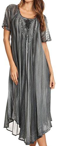Sakkas 17604 - Myani Two Tone Gestickte Sheer mit Flügelärmeln Kaftan langes Kleid | Cover Up - Grau - OS -