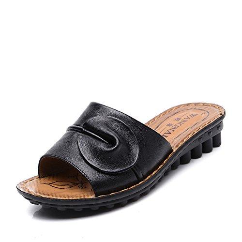 Lady slipper/Centrale inferiore morbido e scarpe invecchiate donne vecchie/Pantofole antiscivolo resistente casa mamma-B Lunghezza piede=23.8CM(9.4Inch)