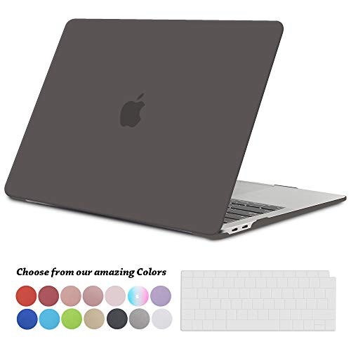 TECOOL Hülle für MacBook Air 13 Zoll Retina 2018, Plastik Hartschale Matt Schutzhülle Case & Transparent Tastaturschutz für Neuen Apple MacBook Air 13,3 Zoll Touch ID (Modell:A1932)-Grau
