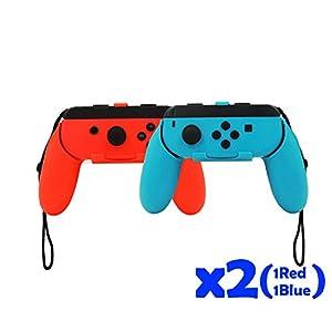QUMOX Controller Griff Joystick Handgriff Griff L + R Reisehalter Case Kasten Set – Rot/Blau für Nintendo Switch Joy-Con
