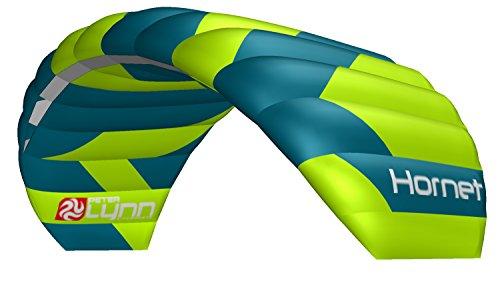 Lenkmatte Lenkdrachen Peter Lynn Hornet 4.0 Complete mit Control Bar und Safety Leash 4-Line Powerkite Stranddrachen für Kitebuggy