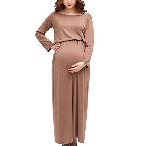 MagiDeal Frauen Elastische Schönes Umstandskleid Sommer Kleid Khaki