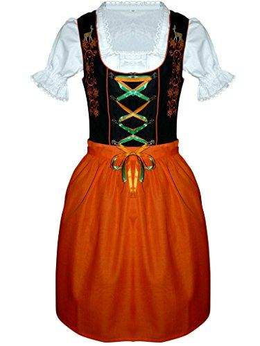 Di20os Midi Dirndl, 3 pezzi costume in arancio abito nero