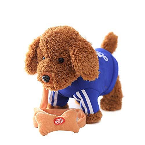 Kostüm Auf Hunde Mit - FONGFONG Elektro Weich Plüsch Hund mit 52 Lieder und Fernbedienung Leine Gehen Gebell Hundespielzeug Interaktives Hündchen Geschenk Spielzeug für Kinder Blau