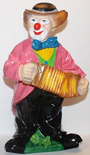 JS GartenDeko Dekorationsfigur Dekofigur Gartenfigur Zirkus Clown stehend mit Harmonika H 57 cm aus Kunstharz