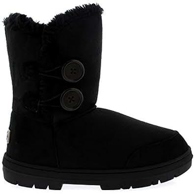 Womens Doppia Button Completamente allineato pelliccia invernale impermeabile Snow Boots - Nero - 3