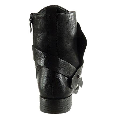 Angkorly Damen Schuhe Stiefeletten - Biker - Reitstiefel - Kavalier - Multi-Zaum - Perle - Nieten - Besetzt Blockabsatz 2.5 cm Schwarz