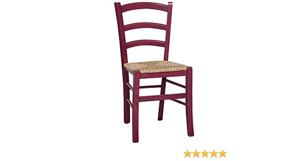 Chaise en hêtre massif finition fuchsia laquée avec assise paille L45xPR45xH88 cm
