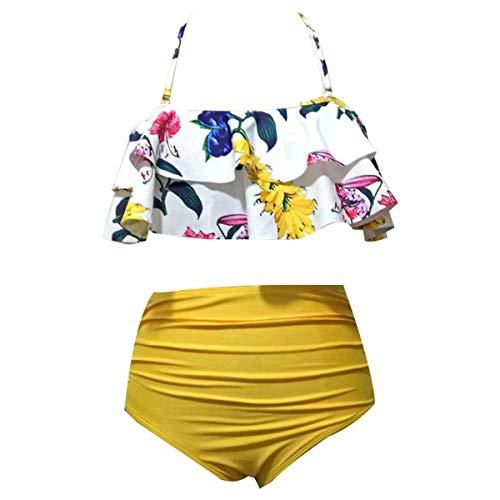 Frauen Gekräuselter Bikini Mit Hoher Taille -