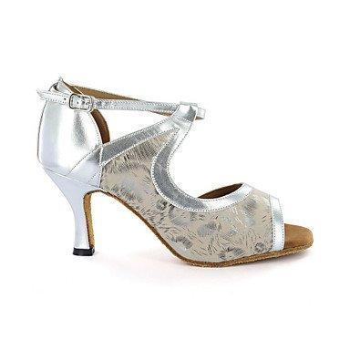 Sapatos dançar Calcanhar Personalizáveis Imitação Latina Azul Preto De Senhoras Prata Xiamuo Azul De Couro Branco xwRCqgtFE