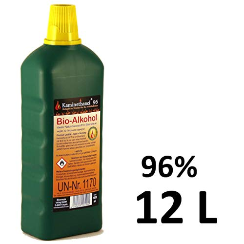 12 x 1 L Flaschen Bioethanol 96,6{431b8e2cb23a3c7e4643147342697cce1a52226166b2b068db0bd5afe3200cd5}, Bio Alkohol 10 + 2 Liter Brennstoff Kamin