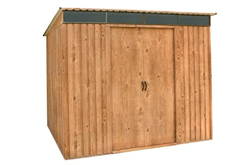 Tepro 7443 Metall-Gerätehaus Pent Roof 8 x 4 Geräte-Schuppen in Eichen-Holz Optik
