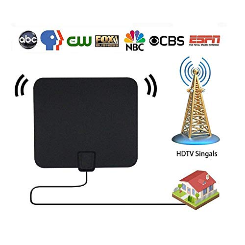 Insense TV Aerial HDTV Antenna Digital Amplified Freeview Indoor TV Aerial 50 Miles HDTV Antenna with Detachable Amplifier Signal Booster, Paper-Thin and High Reception TV Aerial - Black Thin