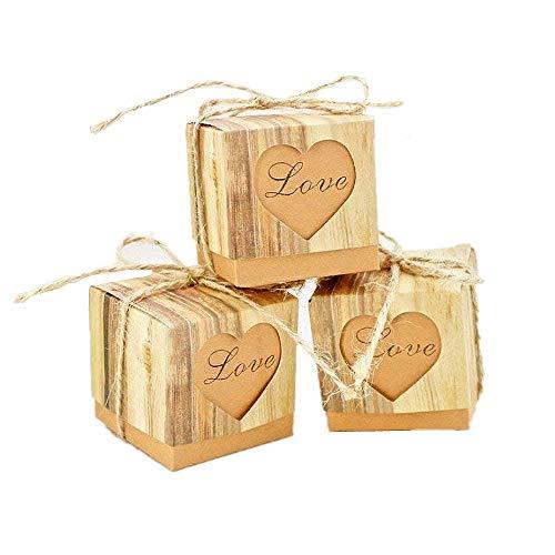 Jzk 50 love cuore marrone scatolina scatola portaconfetti portariso bomboniera segnaposto per rustico matrimonio compleanno battesimo comunione nascita natale