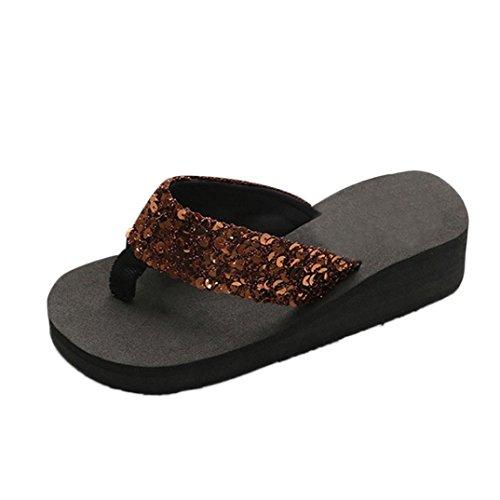 Damen Party Sandalen Strass Strandschuhe Keilabsatz Hausschuhe Zehentrenner Sommer Schuhe