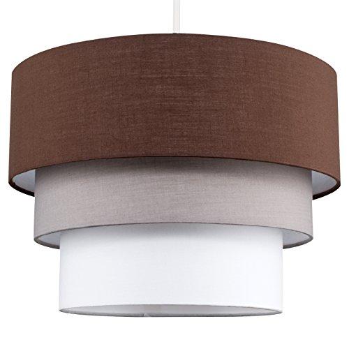 MiniSun - Moderner, runder Lampenschirm aus Kunstseide mit 3 Stufen und schönem, mehrfarbigem Finish in braun, grau und weiß - für Hänge- und Pendelleuchte