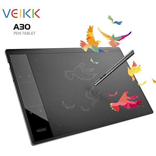 Tablette Graphique Veikk A30Dessin Tablette à Stylet avec des Niveaux de 8192Passif Stylo pour Main Gauche et Droite (Noir).