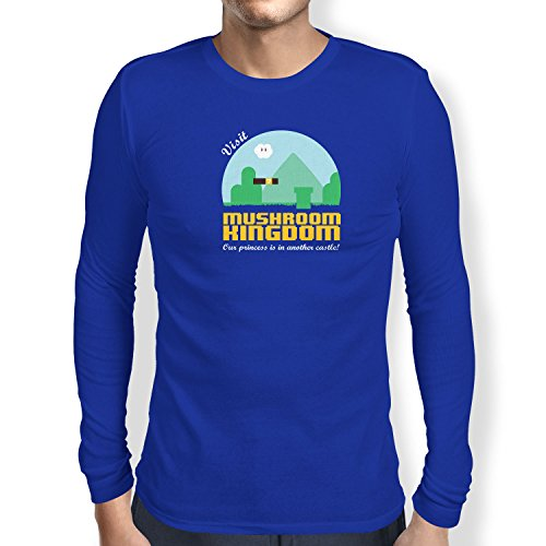 NERDO - Visit Mushroom Kingdom - Herren Langarm T-Shirt, Größe L, marine