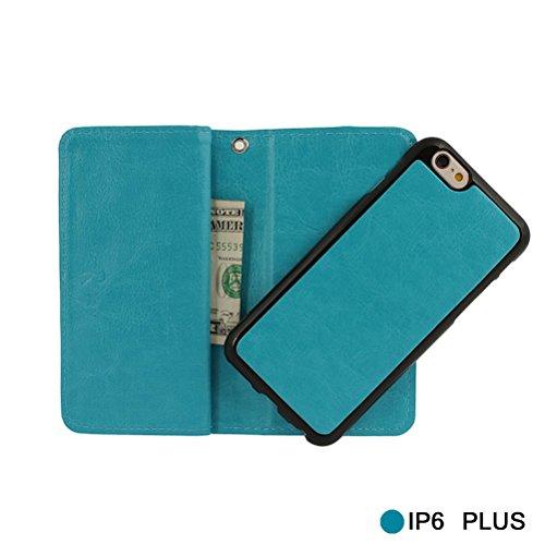 xhorizon FX 2 in 1 leder Mappen Kasten mit [9 Kartensteckplätze] Magnetisch Abnehmbare Geldbörsen Folio Flip Tasche Kasten mit Kartenhalter für iPhone 6 6s Plus(5.5 Zoll)-Rosa Blau