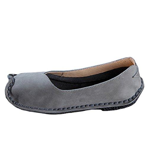 Vogstyle Donna Nuove Scarpe Unico In Pelle Slip-On Fatto A Mano Stile 2-Grigio