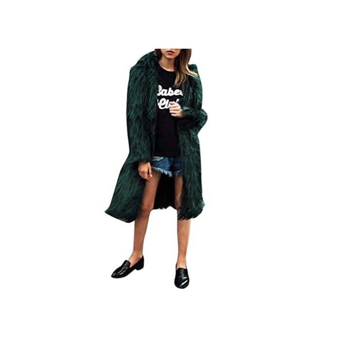 URSING Damen Kunstpelz Lange Parkajacke Weich Warm Mit Kapuze Mantel Oberbekleidung Modus Modern Mantel Super gemütlich…