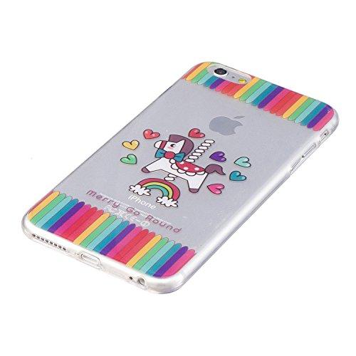 Coque iPhone 6 Plus , Etui Coque TPU Slim Housse Cover avec Couleur Amour Motif mode Conception Bumper pour E-Lush Apple iPhone 6 Plus (5.5 pouces) Souple Housse de Protection Flexible Soft Case Cas C Rainbow et Couleur Cheval