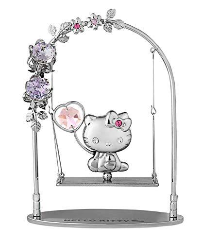 (Rieser Interieur Hello Kitty Figur/Figurine Dekofigur silberfarben mit Swarovski Kristallen (Schaukel))