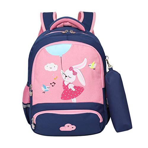 Tierrucksack Anzug Grundschülerinnen, Kinderrucksack Mädchen Jungen süß Schulranzen mit Federmäppchen Cartoon Schultasche(Königsblau-Rosa-Kaninchen)
