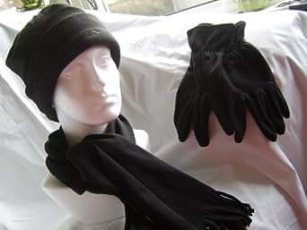 Trespass 3 piece Mens Black Fleece Hat Scarf Gloves Set