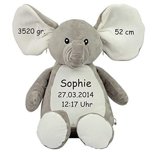 Stofftier Elefant mit Namen Geburtsdatum bestickt Geschenk Kuscheltier Teddybär - individualisiert mit Ihren Daten -