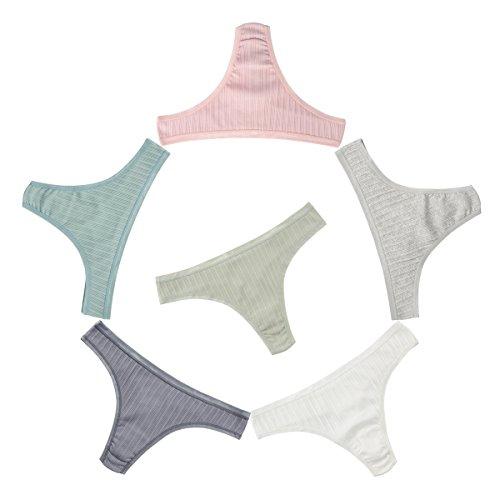 Knitlord 6er-Pack Damen-Strings, Unterwäsche aus Baumwolle, atmungsaktive Unterhosen, Hipster Bikini - S - Ribs -