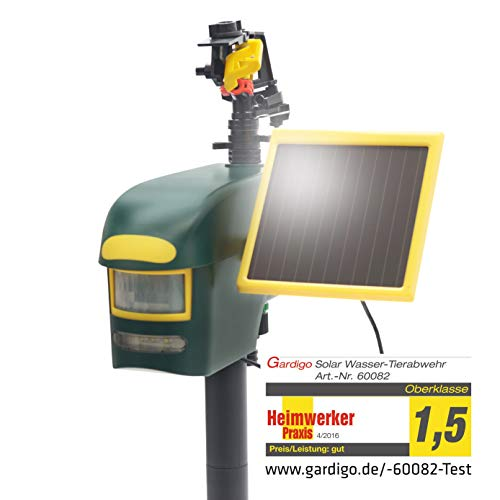 Gardigo Solar Wasserstrahl Tiervertreiber | Reiherschreck, Katzenschreck, Hundeschreck, Taubenschreck | Reichweite bis zu 10m