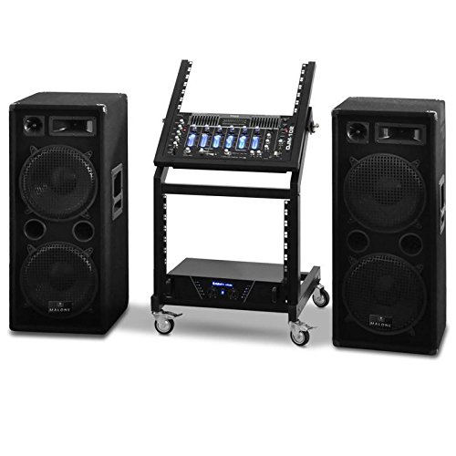 DJ Rack Star Series Mars Flash PA Komplettset Boxen + Amp + Mixer + Rack - 400 Personen - Amp Dj-mixer