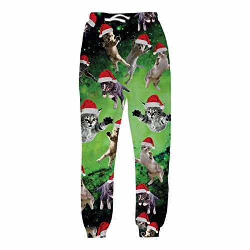 Men's Christmas Cats 3D Printed Galaxy Trousers ForestGreen