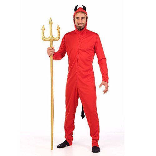Limit Teufel Overall Karneval Party Kostüm Herren mit Hörnern und Schwanz Rot Einteilig - M (Rot-schwanz Ha)