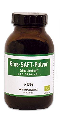 Grüne Lichtkraft - reines SAFT Pulver aus Gerstengras und Urweizengras 33/1 Bio Detox Powerfood (Urweizen, gras saft, gras säfte, kammutgras, kamutgrassaft, Gersten Grassaft) (150 g)