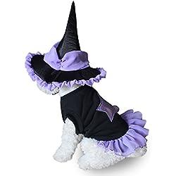 AAA226 Traje del juego del mago de Víspera de Todos los Santos del perro de animal doméstico traje el vestido + la ropa del gatito del gato del perrito - S