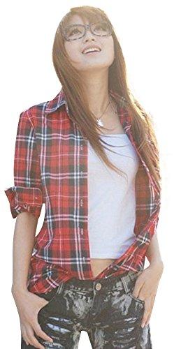 Frauen Casual Taste nach unten Revers Hals Plaid Checker Shirts (US Size XS, 2# rot-Weiss) (Unten Damen Shirt Nach Taste)
