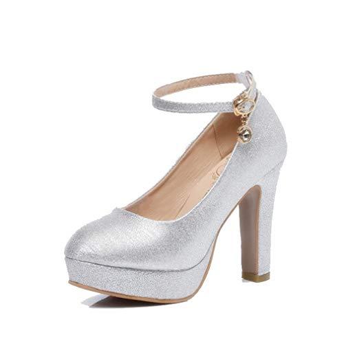 Beautiful bridal shoes Scarpe da Sposa - Abiti da Damigella d'Onore in Argento Tacchi Alti (con Alte 8cm) - Scarpe da Sposa da Donna (Colore : Silver, Dimensioni : 38)