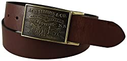 Levis Mens Bridle Leather Belt, Brown, 38