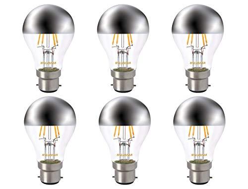 Sylvania Toledo Retro-Lampen, A60, goldene LED-Lampen, 450 Luminous Flux, B22 Sockel, versilberte Krone, 4 W, Homelight (Watt 75 Sylvania)