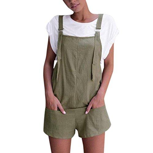 Mono Largo Mujeres ❤️JiaMeng Pijamas Elásticos de la Cintura de Las Mujeres Pantalones de Algodón de Lino Mamelucos Mono Corto (L, Verde)